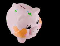 Piggy Bank with Bandages Stock Photography