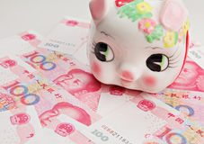 Piggy bank on banknote Stock Photography