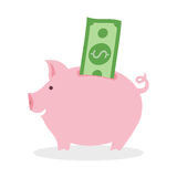 Piggy bank with banknote. Piggy bank with green dollar banknote on white background. Concept of wealth, success and savings. Pink piggy toy Royalty Free Stock Image