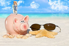Piggy Bank with banknotes on the Beach Royalty Free Stock Photos
