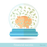 Piggy bank with banknotes flying around into snowglobe isolated on white Royalty Free Stock Photo