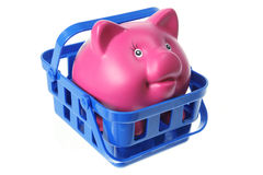 Piggy Bank in Basket Stock Image