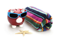 Piggy Bank on beach vacation Stock Photography