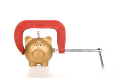 Piggy bank being squeezed Stock Photography
