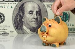 Piggy bank  on big dollar background Royalty Free Stock Images