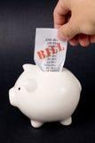 Piggy Bank and bills Stock Photo
