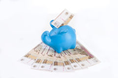 Piggy bank with bills hundred rubles Stock Images
