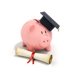 Piggy Bank with Black Graduation Hat and diploma tied with red r Royalty Free Stock Photography