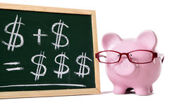 Simple savings growth concept, Piggy Bank with blackboard and saving formula Stock Image