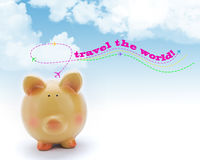 Piggy bank with blue sky and airplanes Stock Images