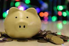 Piggy bank blurring dot color background stock photo