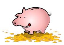 Piggy Bank Bonanza. A happy piggy bank stands astride a golden hill of coins vector illustration