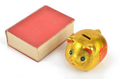 Piggy bank and book Stock Images