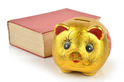 Piggy bank and book Stock Photos