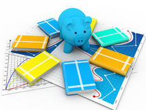 Piggy bank and books Royalty Free Stock Images