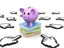 Piggy bank with books. Back to school concept. Piggy bank with books, 3D rendering Stock Photo