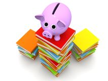 Piggy bank with books. Back to school concept. Piggy bank with books, 3D rendering Stock Images