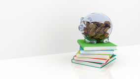 Piggy bank with books Royalty Free Stock Image