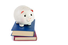Piggy bank and books isolated  on white background Stock Photography