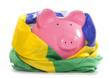 Piggy bank with brazilian flag Royalty Free Stock Image
