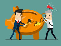 Piggy Bank Breaking By Hammer. Business concept cartoon illustration Stock Image