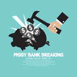 Piggy Bank Breaking By Hammer Royalty Free Stock Image