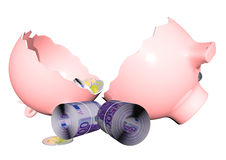 Piggy bank. A broken piggy bank with money before Stock Photo