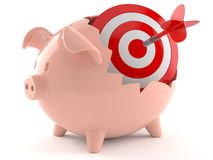 Piggy bank with bull`s eye. Isolated on white background Royalty Free Stock Photos