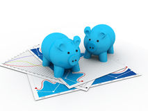 Piggy bank with business chart Royalty Free Stock Photos
