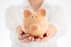 Piggy bank and business concept. Woman holding ceramic piggy ban Royalty Free Stock Photo