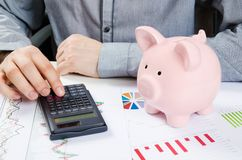 Piggy bank and business documents on desk Stock Image