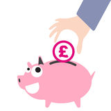 Piggy bank and business hand putting money, currency Pound symbol for saving concept in  Royalty Free Stock Photo