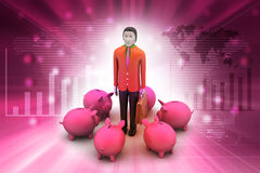 Piggy bank with business man Stock Images