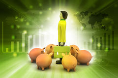 Piggy bank with business man Royalty Free Stock Image