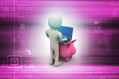 Piggy bank with business man and laptop Stock Image