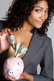 Piggy Bank Businesswoman Stock Images