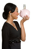Piggy Bank Businesswoman Royalty Free Stock Image