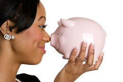 Piggy Bank Businesswoman Royalty Free Stock Photos