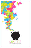 Piggy bank with butterflies. Vector illustration Royalty Free Stock Image