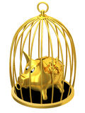 Piggy bank in cage. On a white background Royalty Free Stock Image
