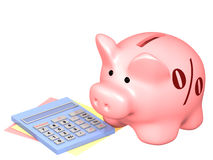 Piggy bank and calculator Stock Image