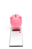 Piggy bank and calculator Royalty Free Stock Photo
