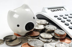 Piggy bank and calculator Stock Photography