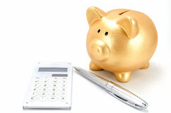 Piggy bank and a calculator Stock Images