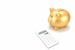 Piggy bank and a calculator Royalty Free Stock Photo