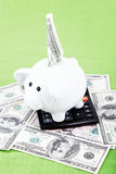 Piggy bank with a calculator and American dollar bills. Piggy bank with a calculator and American dollar bills on the green cloth Stock Images