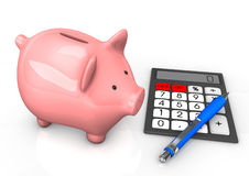 Piggy Bank Calculator Ballpen Royalty Free Stock Photos