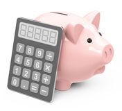 Piggy bank with calculator. 3d generated picture of a piggy bank with a calculator Royalty Free Stock Photo