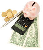 Piggy bank with calculator and dollars Royalty Free Stock Images