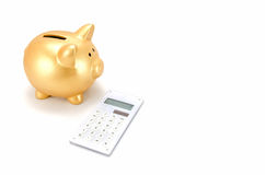 Piggy bank and a calculator Stock Image